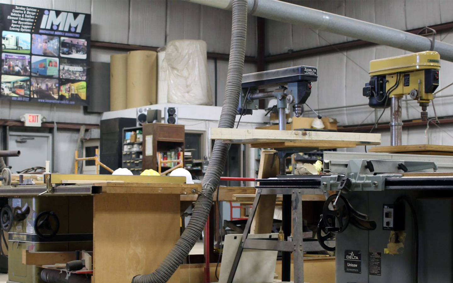 fully equipped wood shop
